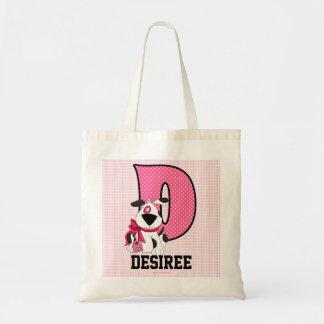 """Dog Kids Monogrammed Letter """"D"""" Pink Tote Bag"""