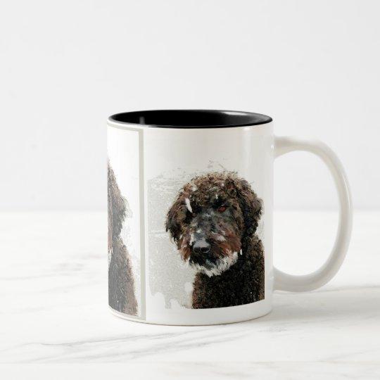 Dog: labradoodle painting Two-Tone coffee mug