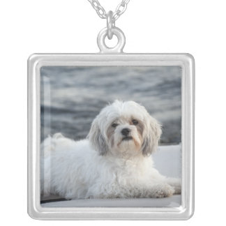 Dog laying by the water silver plated necklace