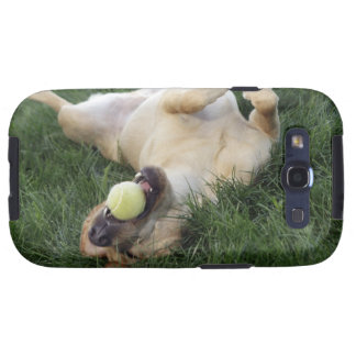 Dog laying upside down in grass with tennis ball galaxy SIII case