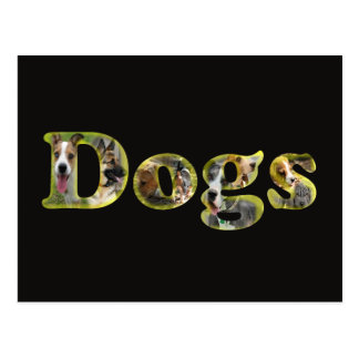 Dog Logo with letters filled with images of dogs Postcard