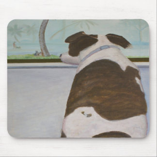 Dog Looking Out Window Mouse Pads