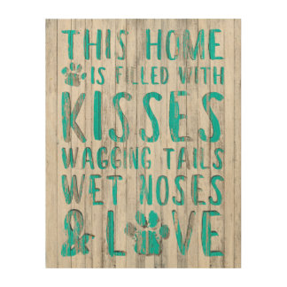 """""""Dog Love"""" Distressed Wooden Wall Art"""