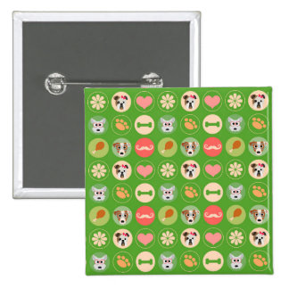 Dog Love on Green Buttons