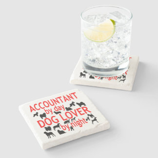 Dog Lover Accountant in Red Stone Beverage Coaster