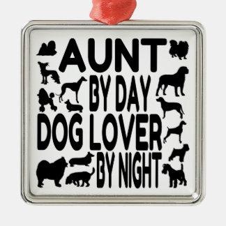 Dog Lover Aunt Silver-Colored Square Decoration