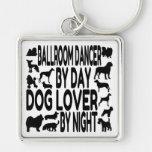 Dog Lover Ballroom Dancer Silver-Colored Square Key Ring