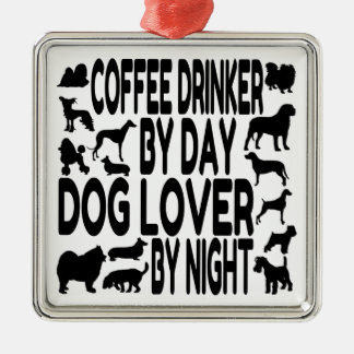 Dog Lover Coffee Drinker Silver-Colored Square Decoration