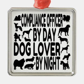 Dog Lover Compliance Officer Silver-Colored Square Decoration