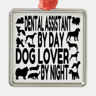 Dog Lover Dental Assistant Silver-Colored Square Decoration