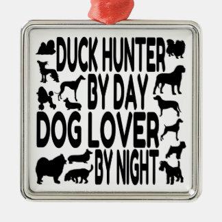 Dog Lover Duck Hunter Silver-Colored Square Decoration