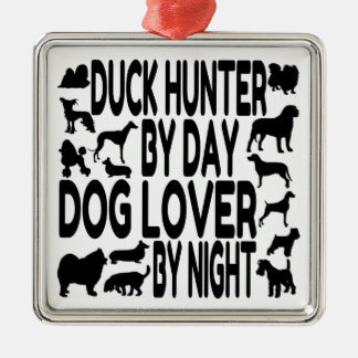 Dog Lover Duck Hunter Silver-Colored Square Decoration