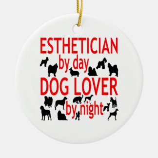 Dog Lover Esthetician in Red Round Ceramic Decoration