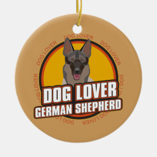 Dog Lover German Shepherd Round Ceramic Decoration