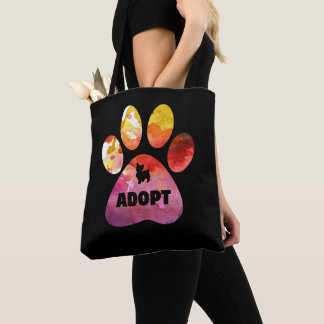 Dog Lover Gifts. Adopt. Dogs Paw, Watercolor Tote Bag