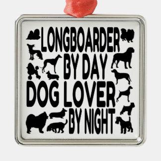 Dog Lover Longboarder Silver-Colored Square Decoration