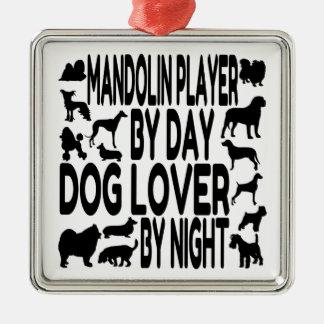 Dog Lover Mandolin Player Silver-Colored Square Decoration