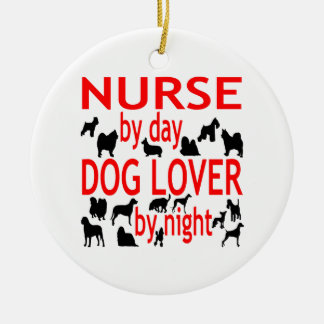 Dog Lover Nurse in Red Christmas Ornament