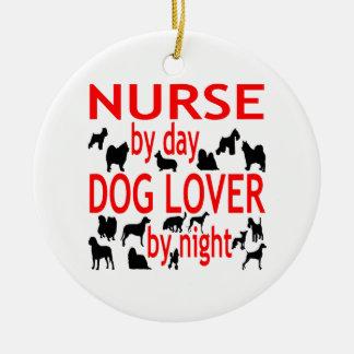 Dog Lover Nurse in Red Round Ceramic Decoration