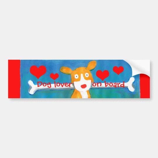 dog lover on board bumper sticker