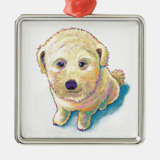 Dog lover painting original art whoodle wheaten christmas ornament