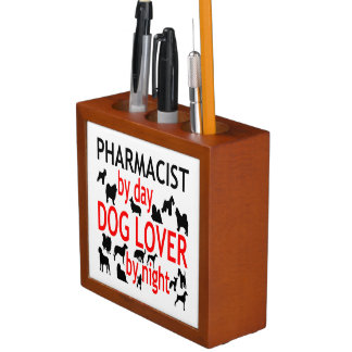 Dog Lover Pharmacist in Red Desk Organiser