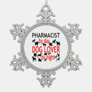 Dog Lover Pharmacist in Red Pewter Snowflake Decoration