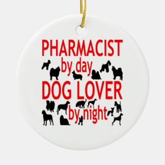 Dog Lover Pharmacist in Red Round Ceramic Decoration