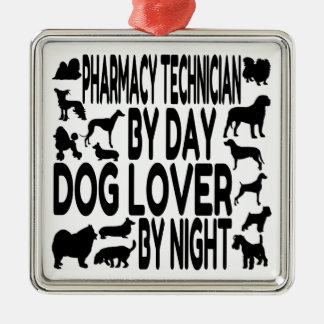 Dog Lover Pharmacy Technician Silver-Colored Square Decoration