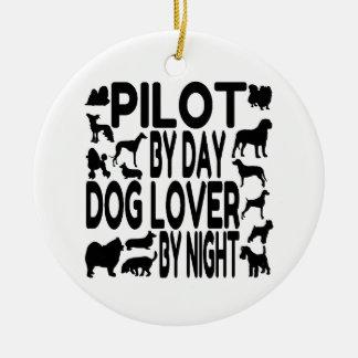 Dog Lover Pilot Round Ceramic Decoration