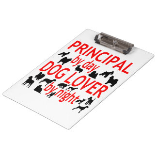 Dog Lover Principal in Red Clipboard