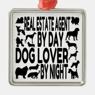 Dog Lover Real Estate Agent Silver-Colored Square Decoration