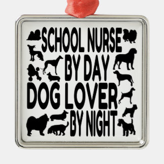 Dog Lover School Nurse Silver-Colored Square Decoration