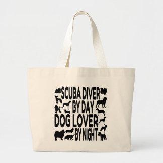 Dog Lover Scuba Diver Large Tote Bag