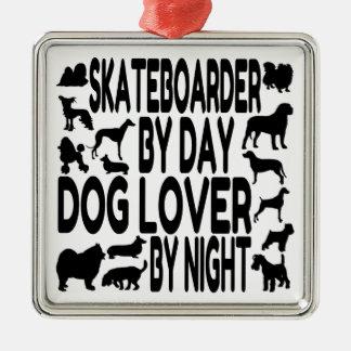 Dog Lover Skateboarder Silver-Colored Square Decoration