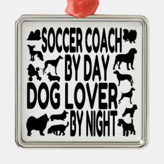Dog Lover Soccer Coach Silver-Colored Square Decoration