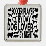 Dog Lover Soccer Player Christmas Ornament