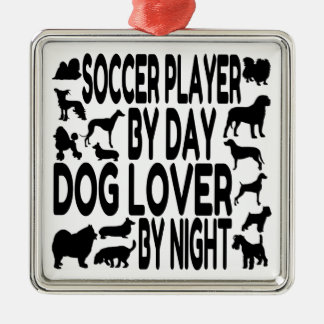 Dog Lover Soccer Player Silver-Colored Square Decoration
