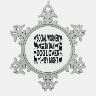 Dog Lover Social Worker Snowflake Pewter Christmas Ornament
