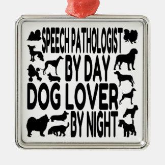 Dog Lover Speech Pathologist Silver-Colored Square Decoration