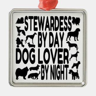 Dog Lover Stewardess Silver-Colored Square Decoration