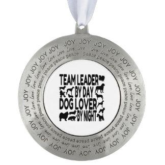 Dog Lover Team Leader Round Pewter Decoration