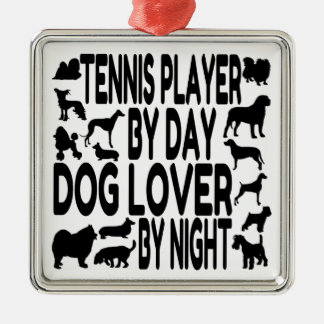 Dog Lover Tennis Player Silver-Colored Square Decoration