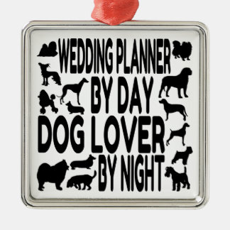 Dog Lover Wedding Planner Silver-Colored Square Decoration