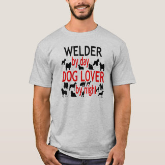 Dog Lover Welder in Red T-Shirt