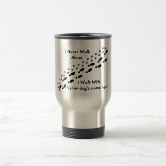 Dog Lover's I Never Walk Alone Pawprint Travel Mug