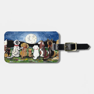 Dog Lover's Luggage ID Tag Personalized Moon Navy