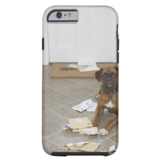 Dog lying by doormat and chewed mail tough iPhone 6 case