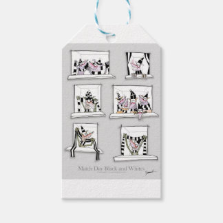 Dog match day black whites gift tags