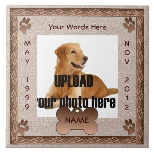 Dog Memorial Brown Tones Large Square Tile